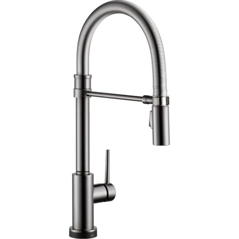Delta Faucet 9659T-DST Trinsic Pro Pre-Rinse Pull-Down Kitchen Faucet with  On/Off Touch Activation - Black Stainless