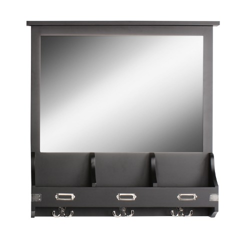"""24"""" x 24"""" Stallard Wood Wall Mirror with Hooks Black - Kate and Laurel - image 1 of 4"""