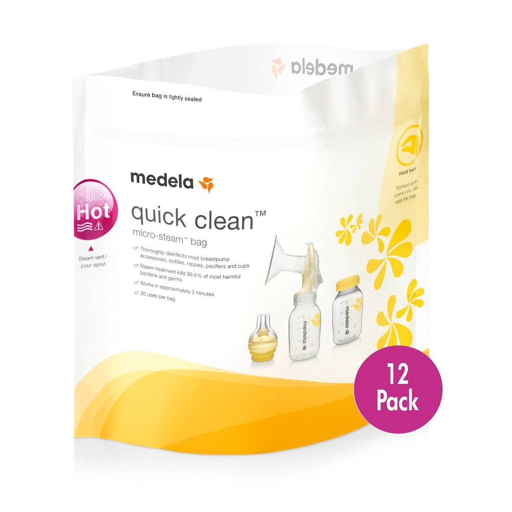 Image of Medela Quick Clean Micro-Steam Bags - 12ct, White