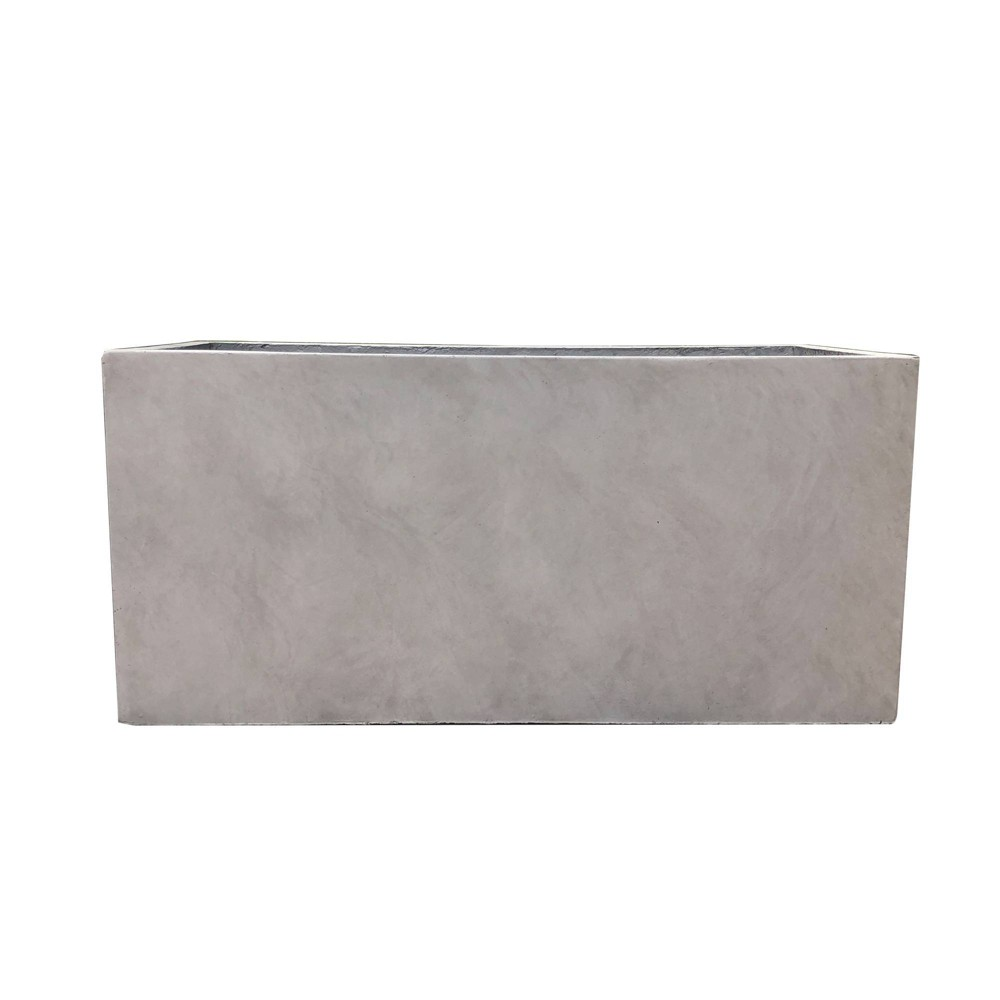 "Reviews 12"" x 23"" Kante Lightweight Outdoor Durable Modern Rectangular Concrete Planter Weathered Concrete Gray - Rosemead Home & Garden Inc."