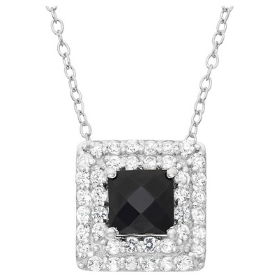 Square-cut Black Onyx Accented Pendant in Sterling Silver