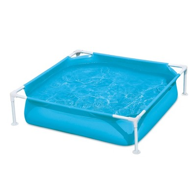 Summer Waves Small Plastic Frame 4ft x 4ft x 12in Kids Toddler Baby Kiddie Swimming Pool, Blue