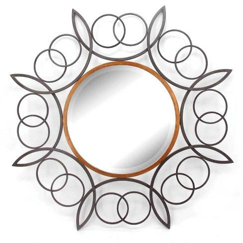 35 4 X35 Round Decorative Wall Mirror Gold Home Source