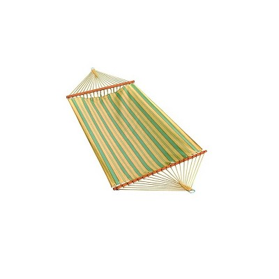"""Northlight 80"""" x 52"""" Weather Resistant Blue and Yellow Striped 2-Point Double Hammock"""