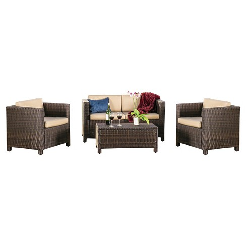 Puerta 4pc Outdoor Wicker Sofa set - Christopher Knight Home - image 1 of 4