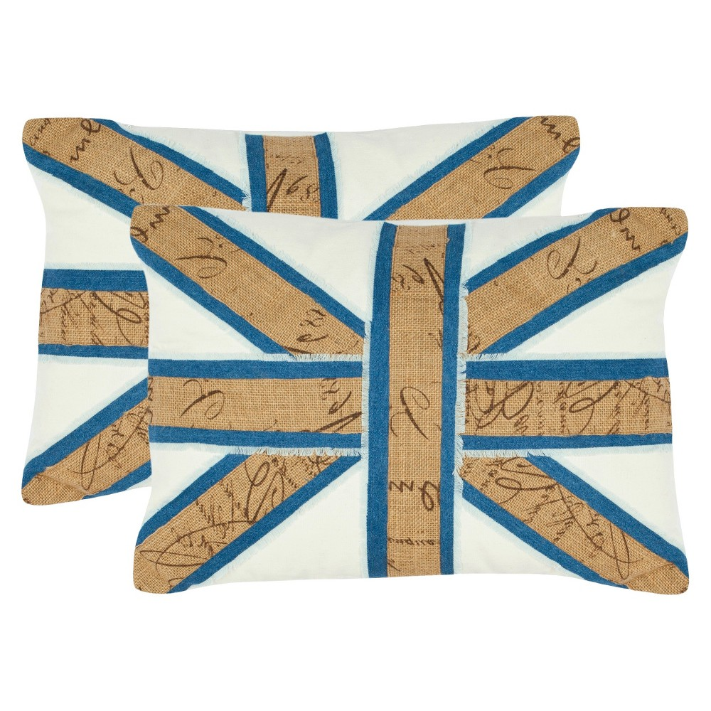 Tan/Blue Union Jack Throw Pillow 2 Pack - Safavieh