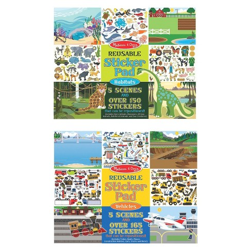 Melissa & Doug Reusable Sticker Pads Set: Vehicles and Habitats, 315+ Stickers and 10 Scenes - image 1 of 4