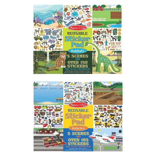 Buy Melissa Doug Reusable Sticker Pads Set Vehicles And Habitats 315 Stickers And 10 Scenes For Usd 9 49 Toys R Us