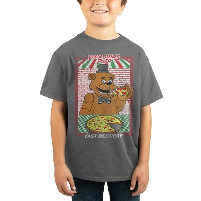 Bioworld Five Nights at Freddy's Fazbear's Pizza Fast Delivery Ad Layout Screen Print on Athletic Heather Tee