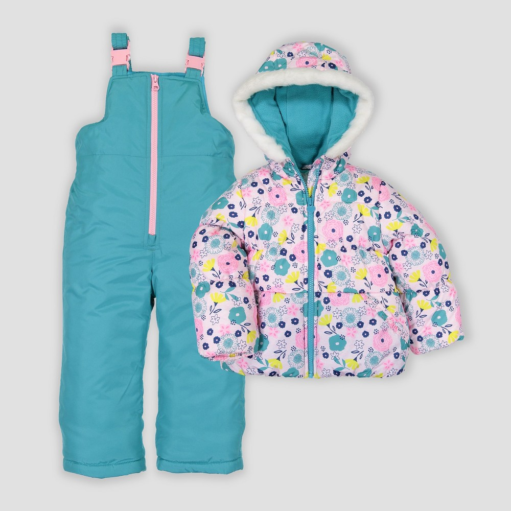 Toddler Girls' 2pc Floral Snowsuit - Just One You made by carter's Blue 5T, Multicolored