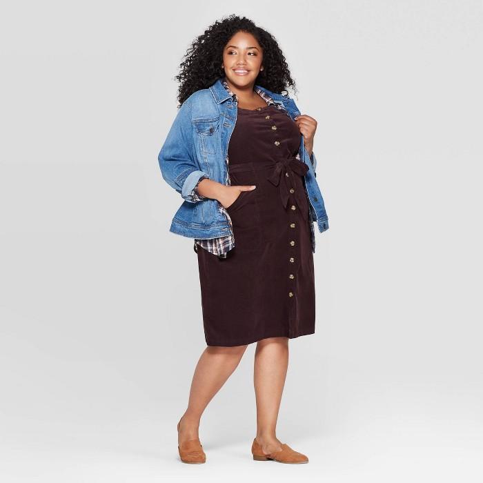 Women's Plus Size Sleeveless Square Neck Corduroy Midi Button-Front Dress - Universal Thread™ Brown - image 1 of 3