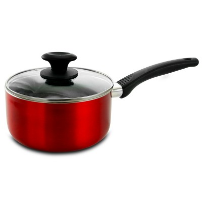 Oster Nonstick 2.5 Quart Aluminum Red Saucepan with Glass Lid