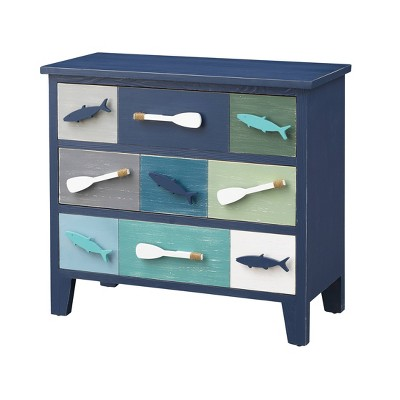 Jupiter Coastal 3 Drawer Chest Blue - Treasure Trove Accents