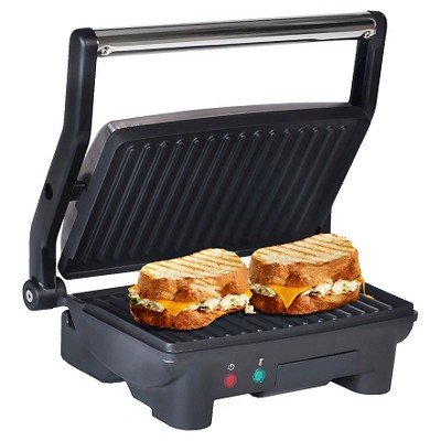 Elite Cuisine 3-in-1 Panini Press & Grill in Black and Stainless Steel