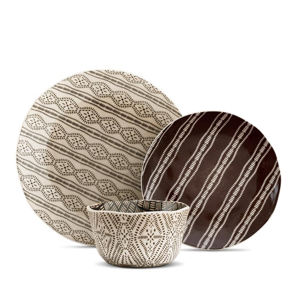 Image of Bahani Stoneware 12-pc Dinnerware Set Brown, Blue