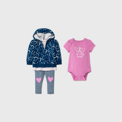 Baby Girls' 4pc Heart Hoodie Top & Bottom Set - Cat & Jack™ Blue 0-3M