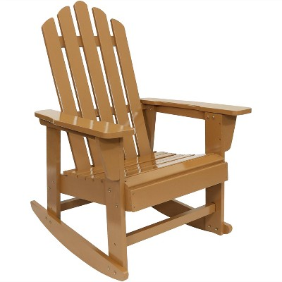 Sunnydaze Outdoor Natural Fir Wood with Cedar Finish Lounge Patio Adirondack Rocking Chair - Light Brown