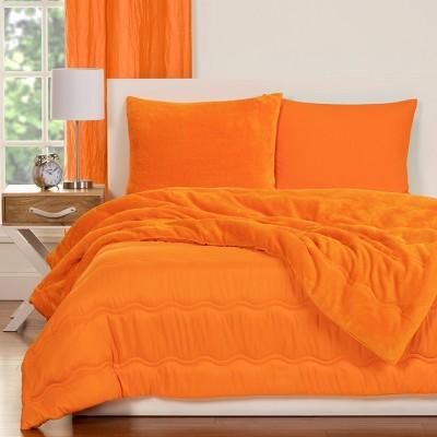 Crayola Playful Plush Orange Pleated Comforter Set (Full/Queen)3pc
