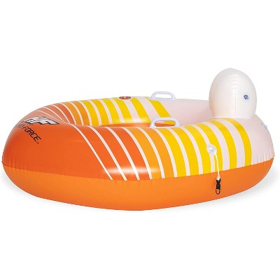 Hydro-Force 43399E Swimming Pool, Lake, River, Beach Inflatable PVC Clasp N Go Inner Tube Ring Float with Cup Holder, Sunkissed Orange and Yellow