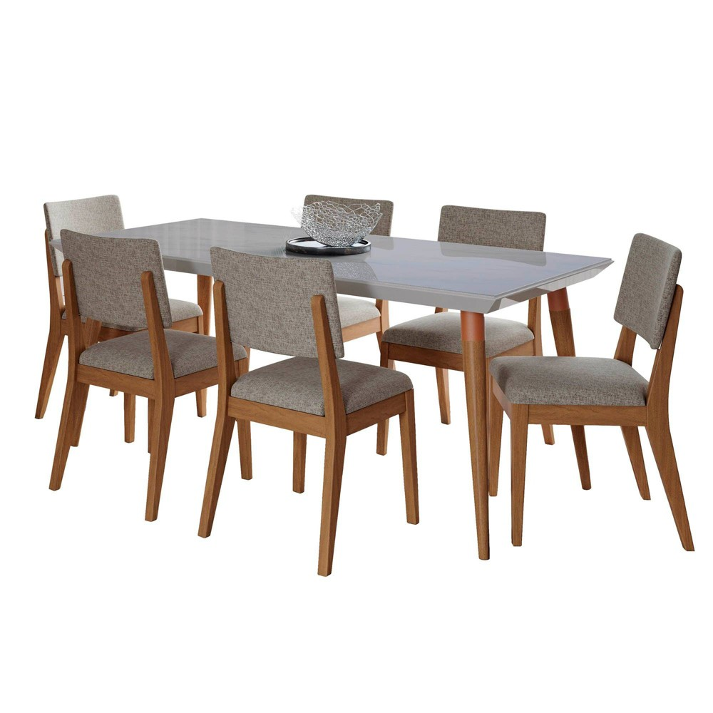 70.86 7pc Utopia and Dover Dining Set Off-White Marble/Gray - Manhattan Comfort