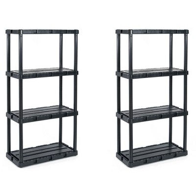 Gracious Living 91089-1C 24 x 12 x 33 Inch Knect A Shelf Fixed Height Light Duty Interlocking Home Storage 4 Shelf Shelving Unit, Black (2 Pack)