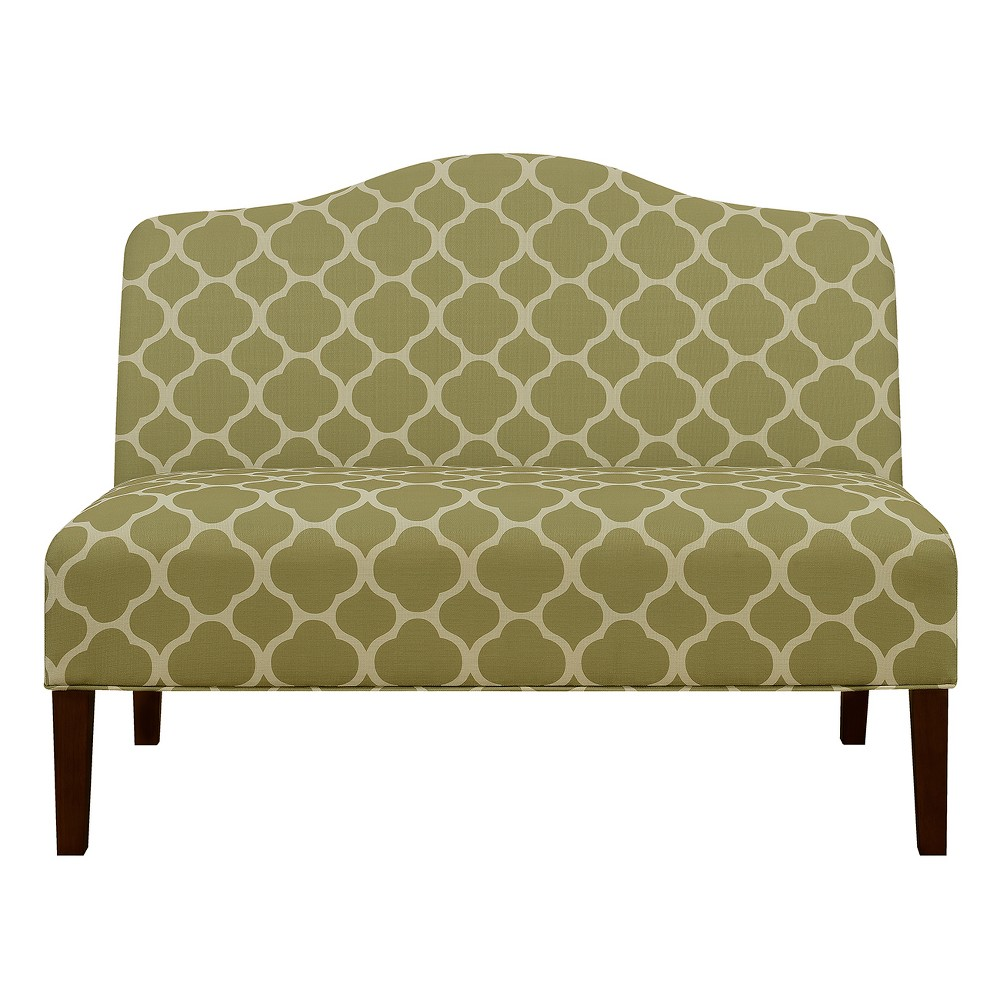 Armless Arched Back Lime Upholstered Settee - Green - Pulaski