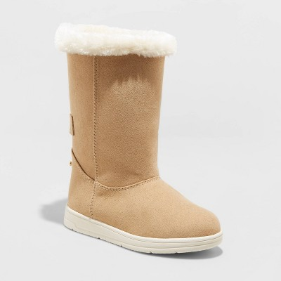 Toddler Girls' Kiley Shearling Style Boots - Cat & Jack™ Tan 11