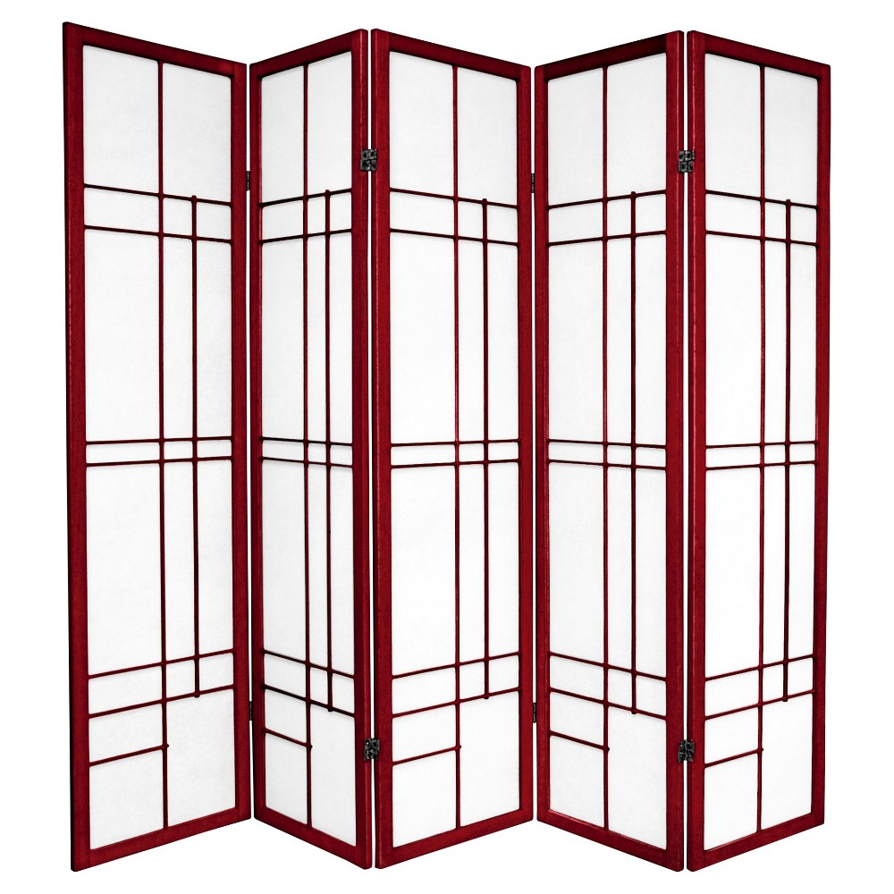 6 ft. Tall Eudes Shoji Screen - Rosewood (5 Panels), Red