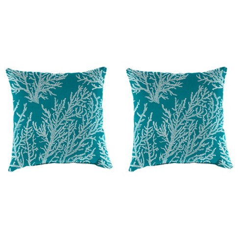 Outdoor Set Of 2 Accessory Toss Pillows In Seacoral Turquoise - Jordan Manufacturing - image 1 of 2