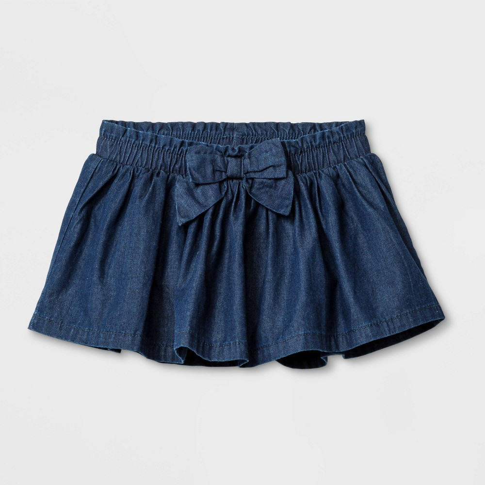 Image of Baby Girls' Denim Skirt with Self Fabric Tie - Cat & Jack Dark Wash 0-3M, Girl's, Blue