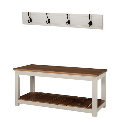 Savannah Coat Hook With Bench Set Ivory - Bolton Furniture