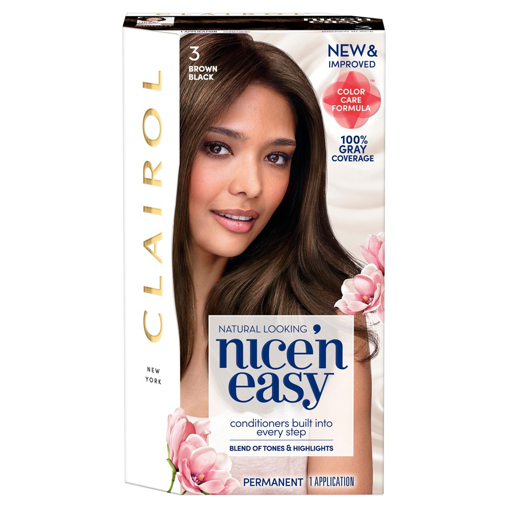 Image of Clairol Nice 'N Easy Permanent Hair Color - 3 Brown Black - 1 Kit