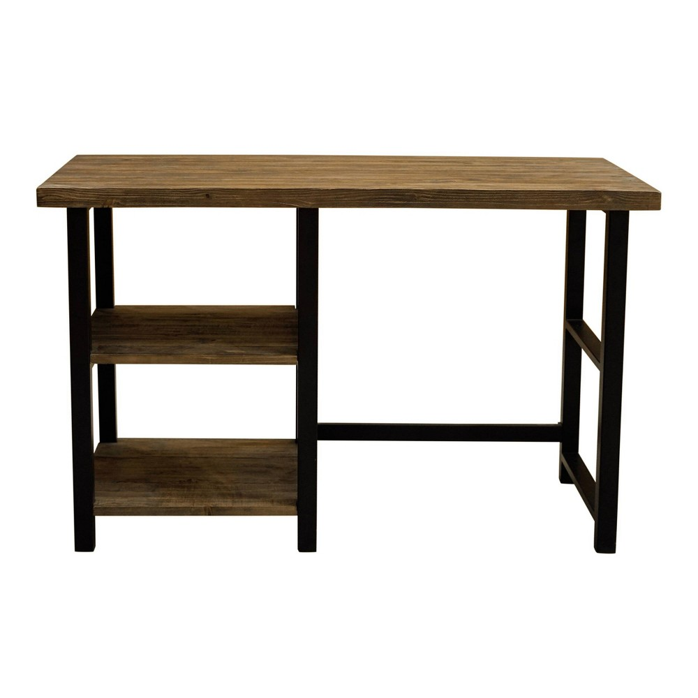 Pomona Writing Desk with Two Shelves Metal and Solid Wood Natural - Alaterre Furniture, White