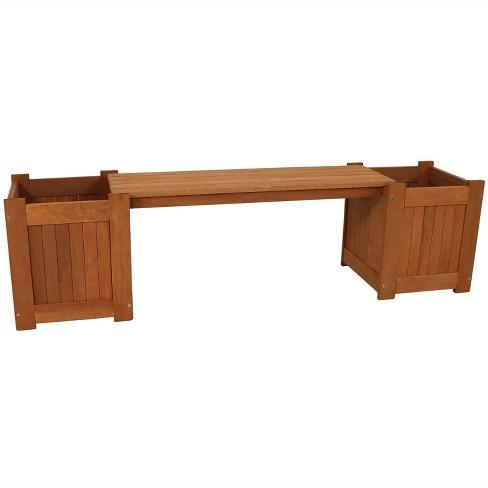 "Sunnydaze Outdoor Meranti Wood with Teak Oil Finish Wooden Garden Planter Box Bench Seat - 68"" - Brown - image 1 of 4"