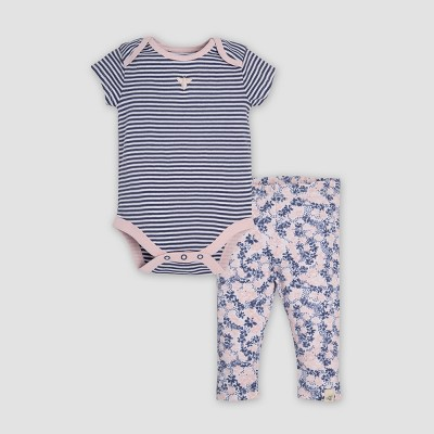 Burt's Bees Baby® Baby Girls' Organic Cotton Classic Stripe Bodysuit & Leggings Set - Indigo Newborn