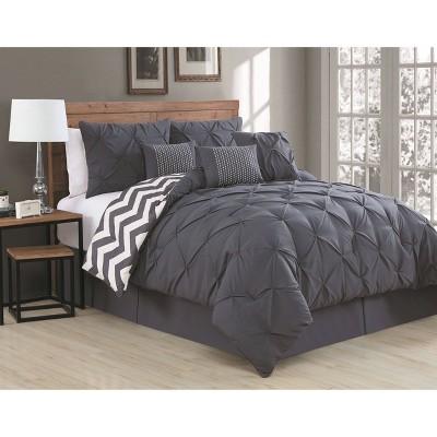 King 7pc Ella Pinch Pleat Comforter Set Charcoal - Geneva Home Fashion
