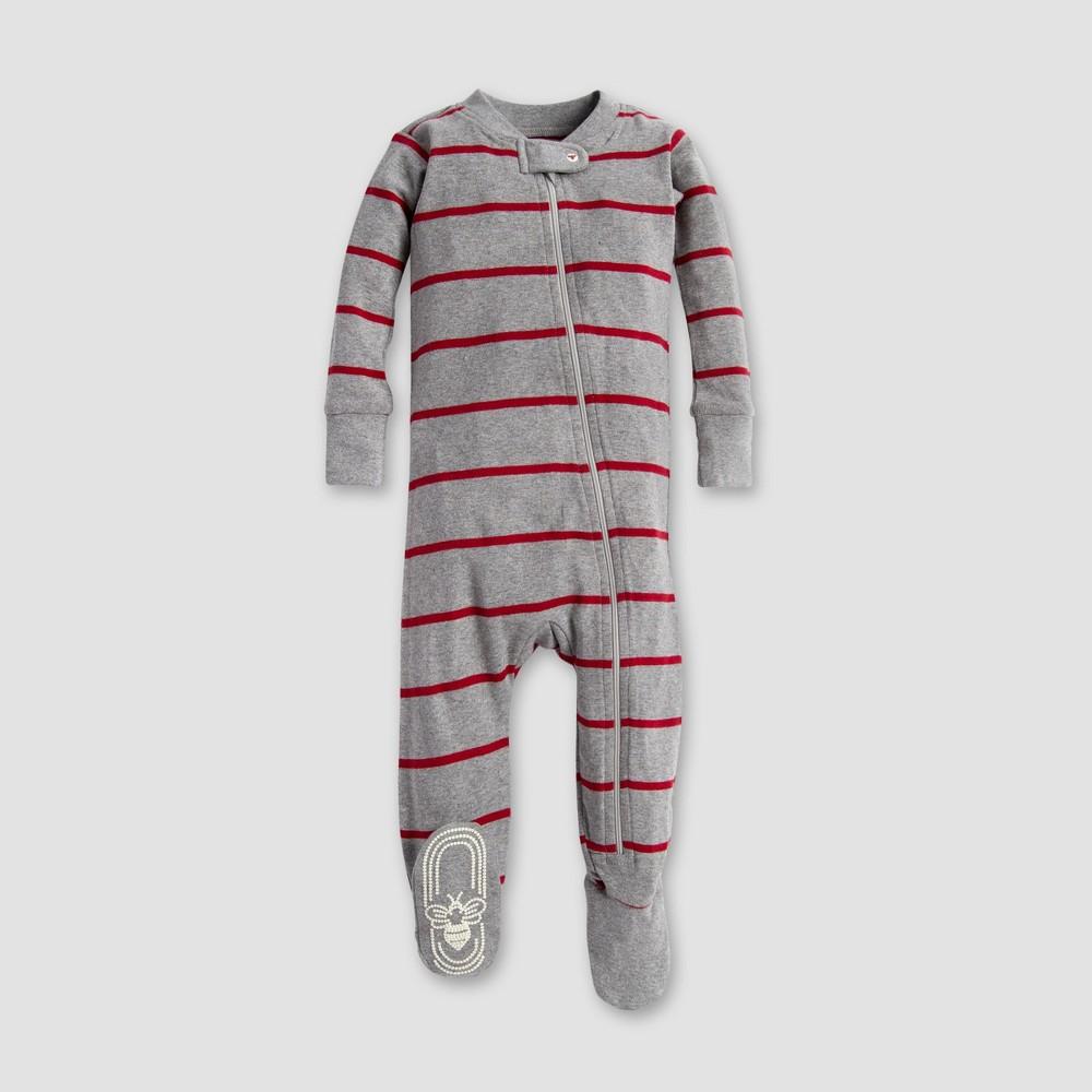 Burt's Bees Baby Organic Cotton Variegated Footed Pajama Sleeper - Heather Gray 2T, Infant Unisex