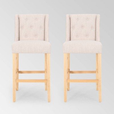 Set of 2 Lansglen Button Tufted Wingback Barstools - Christopher Knight Home