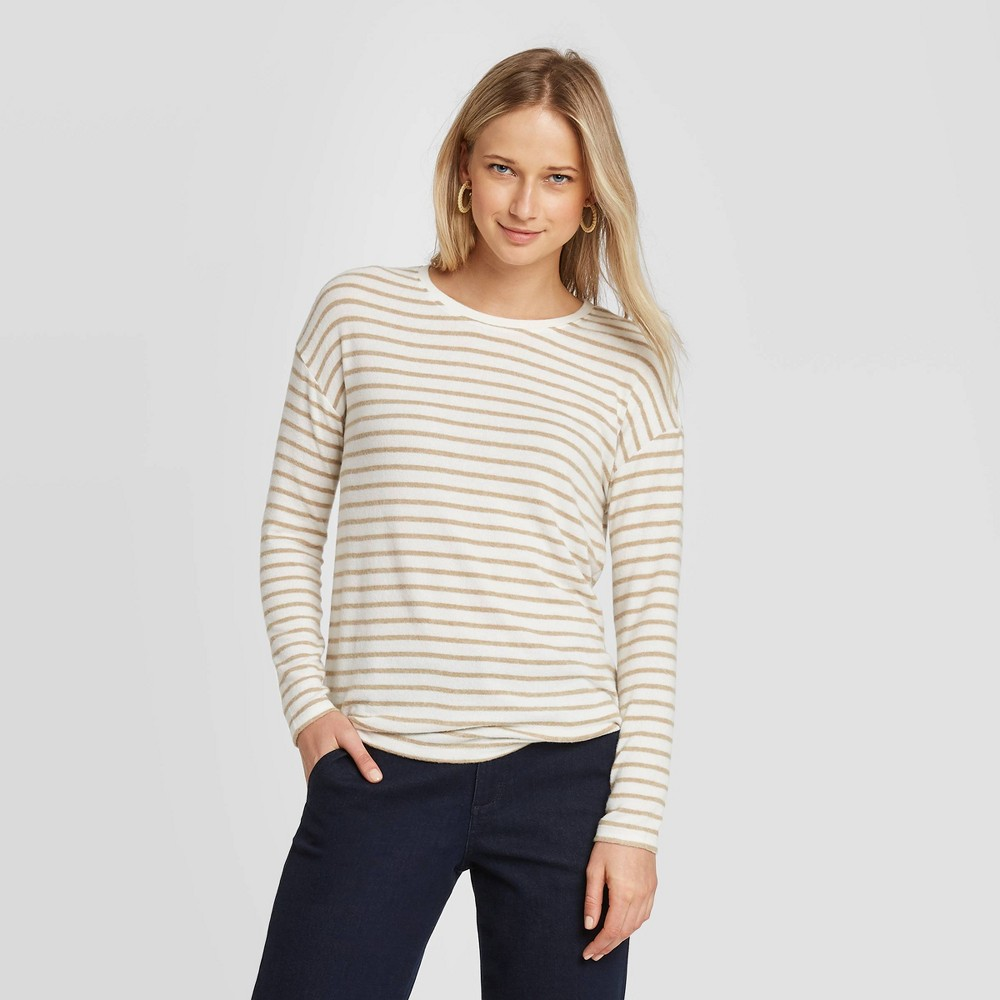 Women's Striped Long Sleeve T-Shirt - A New Day Brown M was $15.0 now $10.5 (30.0% off)