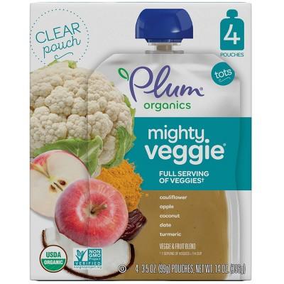 Plum Organics Mighty Veggie Cauliflower Apple Coconut and Turmeric Baby Meals - 16oz/4pk Each