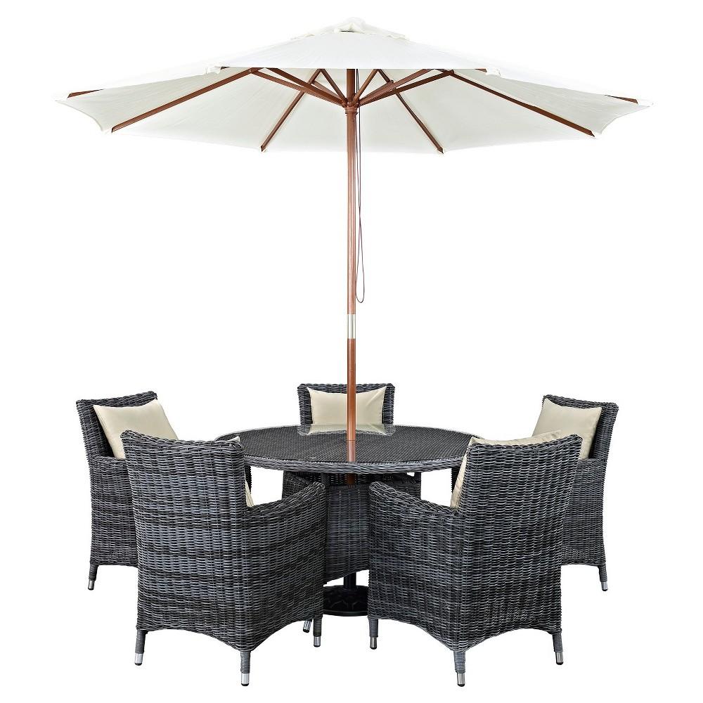 Summon 7pc Round All-Weather Wicker Patio Dining Set w/ Sunbrella Fabric - Light Beige - Modway
