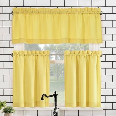 "Set of 3 (24""x27"")Martine Microfiber Semi-Sheer Rod Pocket Kitchen Curtain Valance and Tiers Set Yellow - No. 918"