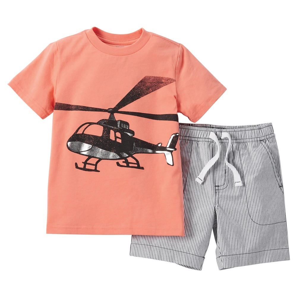 Just One You Made by Carter's Toddler Boys' 2pc Short Set - Orange/Gray 3T