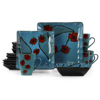 16pc Stoneware Tropical Bloom Square Dinnerware Set Red/Blue - Elama