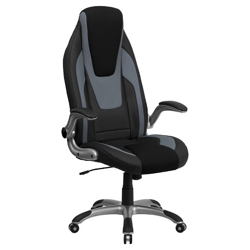 Executive Swivel Office Chair Black & Gray Vinyl - Flash Furniture - image 1 of 4