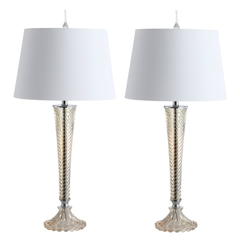"""(Set of 2) 32"""" Caterina Glass LED Table Lamp Champagne (Includes Energy Efficient Light Bulb) - JONATHAN Y - image 1 of 4"""
