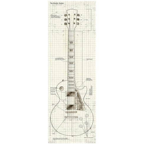 Blueprint Guitar In White Wall Art - image 1 of 2
