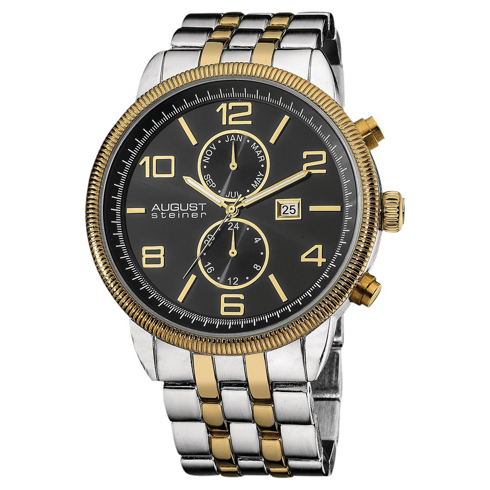 Men's August Steiner Swiss Quartz Multifunction Bracelet Watch - Two - Tone, Brown
