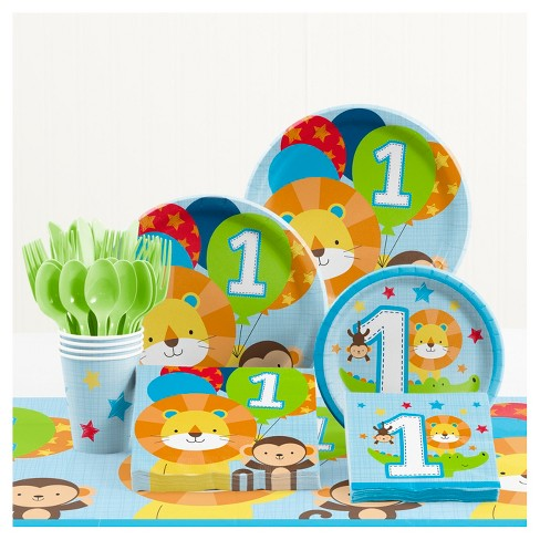 One Is Fun Boy 1st Birthday Party Supplies Kit Target