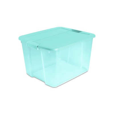 Sterilite 66qt Latching Storage Box with Lid Aqua